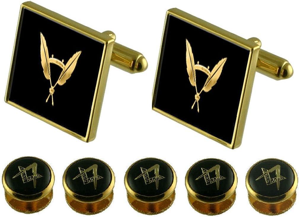 Secretary Gold Cufflinks Masonic 5 Shirt Dress Studs Box Set