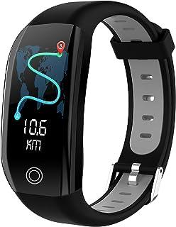 Pulsera de fitness con rastreador de frecuencia cardíaca, reloj deportivo, resistente al agua IP68, podómetro, contador de calorías, llamadas/SMS, reloj inteligente para hombre y mujer