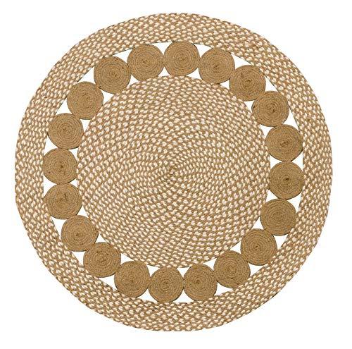 Purity Eco Teppich, natürliche Baumwolle und Jute, geflochten, rund, 90 x 90 cm