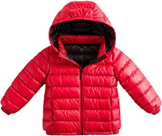 marc janie Girls Boys' Light Weight Down Jacket Packable Removable Hooded Down Puffer Coat, 36+ Colors