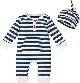 Verve Jelly Säuglingsbaby Jungen Mädchen Gestreifter Strampler Langarm-Knopf Gerippter Overall mit Känguru-Tasche Einteiliger Pyjama  Hut-Set