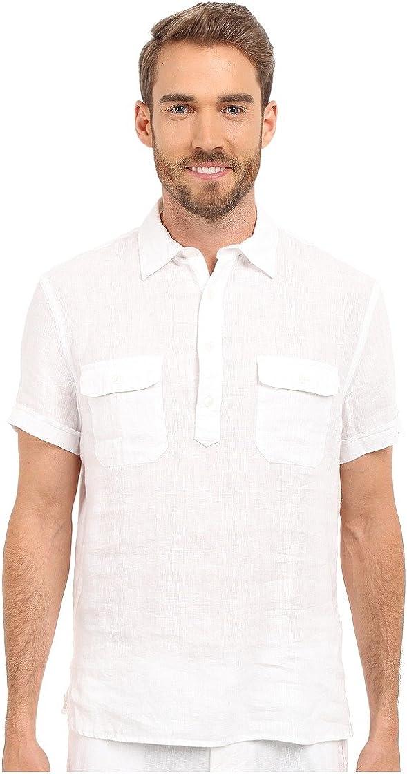 Perry Ellis Men's Short Sleeve Solid Linen Popover Shirt