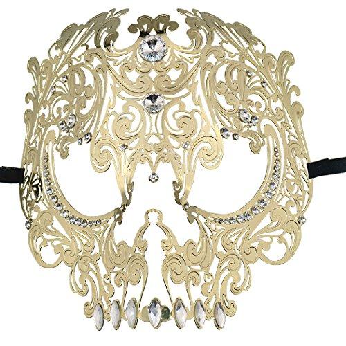 Skull Face Masquerade Masks Mardi Gras Party Mask with Rhinestones Gold