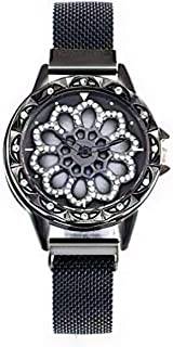 coal Black color ladies watch with rotating dial new concept with eye-attracting appearance ساعة يد أنيقة مرصعة بالستراسات...