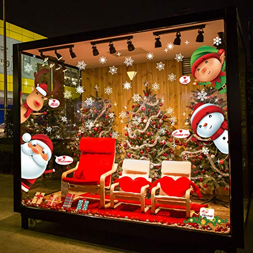 Forsylvanas Jewelry 119 Pcs Christmas Window Clings - Snowflake Reindeer Santa Claus Elf Peeking Refrigerator Decal Static Stickers for Winter Wonderland Xmas Party Decoration Supplies