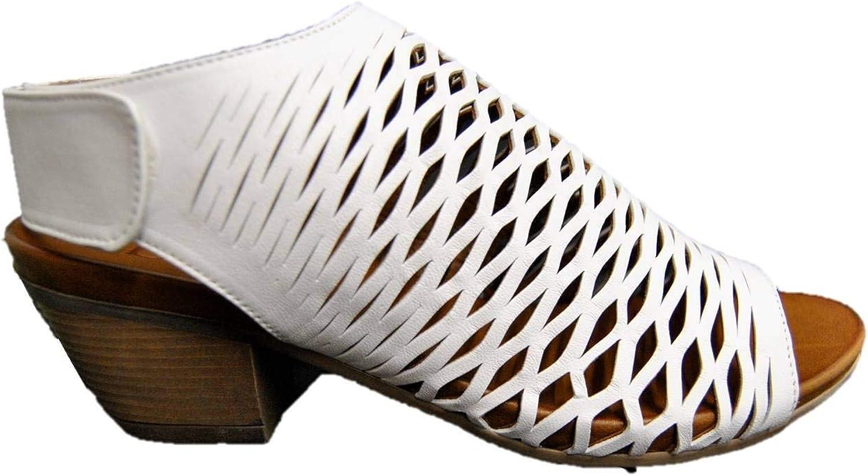 BUENO 9L1406 Women's Sandal in White Laser-Cut Leather