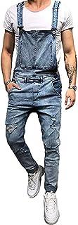 Nansiche Mens Denim Trousers Bib Overalls Dungarees Stonewash Jeans Jumpsuits