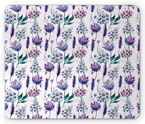 Alfombrilla de ratón Floral para computadora, Plantas botánicas Belleza Flores exóticas Violetas Campanillas Acuarela, Alfombrilla Rectangular de Goma Antideslizante, Lavanda Ciruela Ja,20x25cm