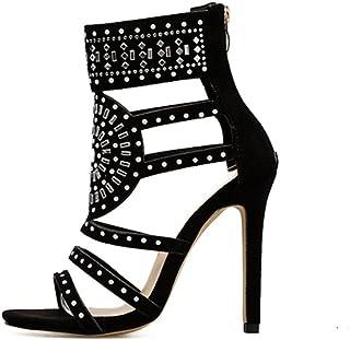 2193cf2a33de4a Solike Femmes Escarpins Sexy Talon Haut Aiguille Sandales en Strass PU  Casual Chaussures à Printemps Été
