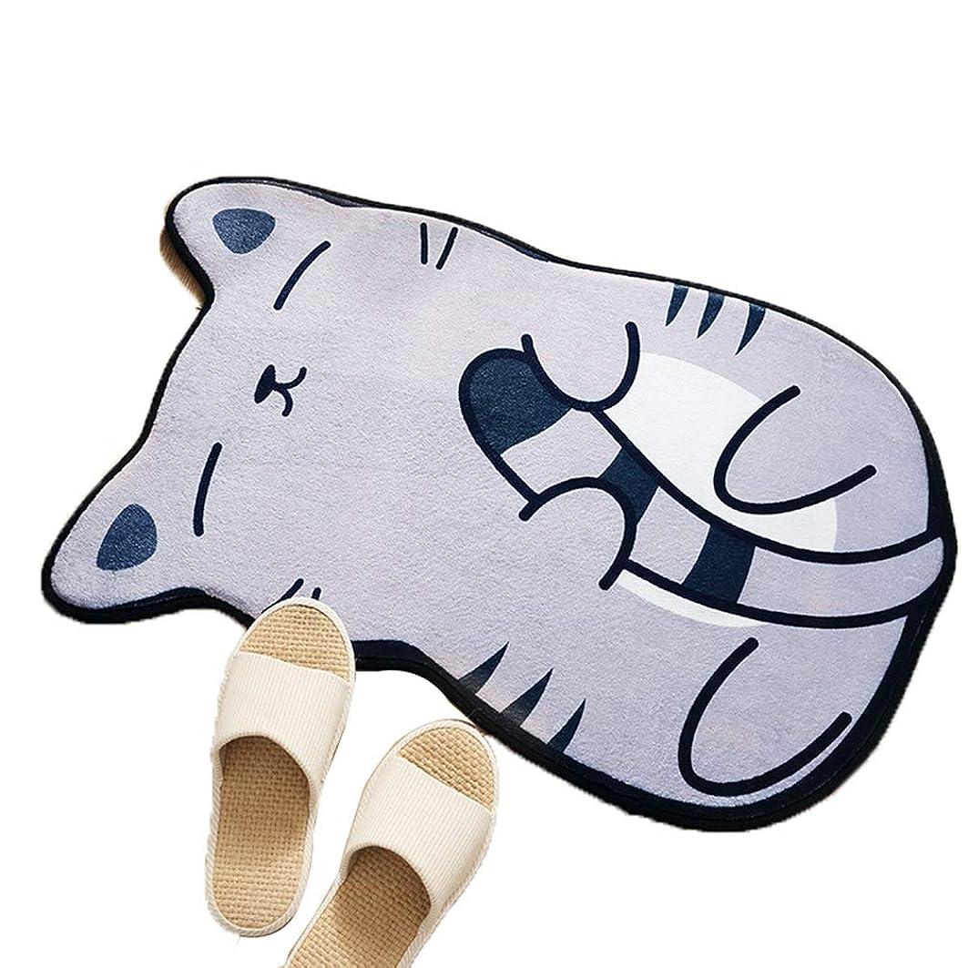落花生儀式物理猫型マット グレー ダイカットマット 50*80cm マット ミニマット 足ふきマット 玄関マット キッチンマット バスマット ラグ 猫雑貨 ネコグッズ ねこ キャット かわいい ラグ マット 北欧風 子供