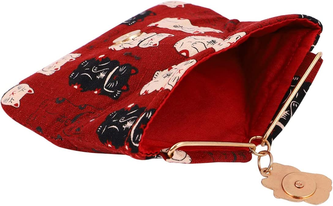 OSALADI 1pc Lucky Cat Printed Coin Purse Magnetic Button Triangle Coin Purse Change Pouch Bag