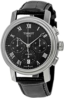 Tissot Men's Bridgeport Stainless Steel Swiss-Automatic Watch with Leather Strap, Black, 20 (Model: T0974271605300)