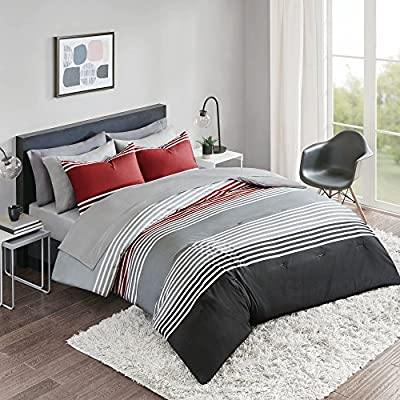 Comfort Spaces Colin 9 Piece Comforter Set All Season Microfiber Stripe Printed Bedding and Sheet with Two Side Pockets, Full, Red/Grey by Comfort Spaces