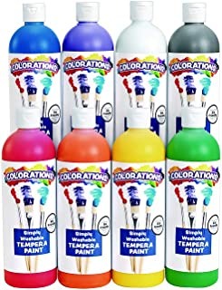 Colorations Simply Washable Tempera Paints, 16 oz, Set of 8, Non Toxic, Vibrant, Bold, Kids Paint, Craft, Hobby, Arts & Crafts, Art Supplies