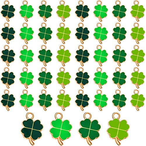 48 Pieces St. Patrick's Day Shamrock Charms Pendants Assorted Four-Leaf Charms Shamrock Shape Enamel Pendant DIY Jewelry Pendant Accessories for Necklace Bracelet Earrings Making Supplies, 4 Colors