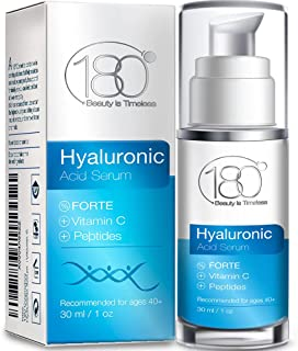 Hyaluronic Acid Vitamin C Facial Serum - Super Strong - 180 Cosmetics - Face Lift Skin Serum for Face and Eyes - Pure Hyal...