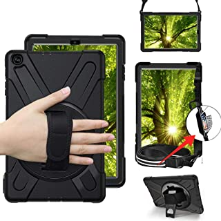 Galaxy Tab A 10.1 Case 2019, LITCHI Heavy Duty Rugged Case with 360 Degree Rotatable Hand Strap, Built-in Kickstand/Shoulder Strap for Samsung Galaxy Tab A Tablet 10.1 Inch SM-T510/T515 (2019)-Black