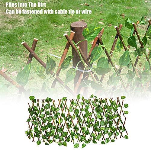 Clôture de feuilles artificielles Haie de jardin Treillis extensible Protection UV Panneau de clôture arrière Artificiel Plantes vertes Haie pour arrière-cour Culture de salon 40/70 cm, vert, 40cm