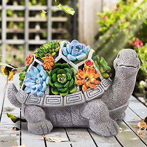 MINGRT Estatuas de Jardín, Luces Solar para Jardin Exterior, Tortuga Exterior Adornos Decoracion de Jardin de Casa, Estatuas de Jardín de Resina para Jardín Camino de Césped (Color : B)