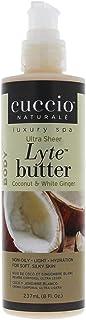 Cuccio Naturalé Lyte Coconut & White Ginger Ultra Sheer Butter - Non-Oily Cream - Hand, Body, Feet - Energi...