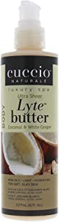 Cuccio Lyte Ultra Sheer Body Butter, Coconut and White Ginger, 8 Fluid Ounce
