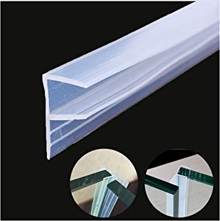 "Queenbox Shower Door Seal Strip 120 inches Cuttable Length, Frameless Glass Door/Window Sweep to Stop Shower Water Leaks, 1/2""(12mm) Glass Thickness, Clear (F-Type)"