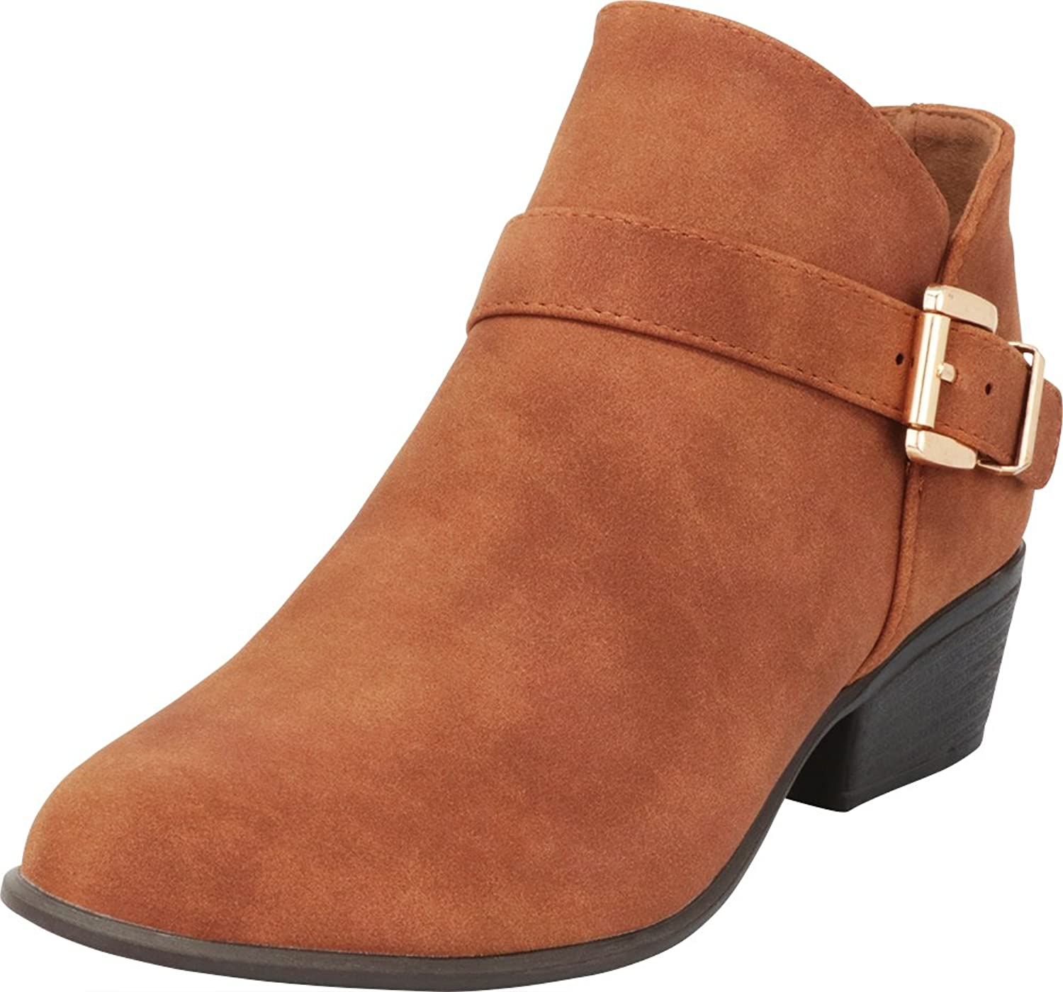 Cambridge Select Women's Western Credver Strap Buckle Stacked Low Heel Ankle Bootie