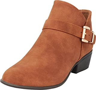 Cambridge Select Women's Crossover Strap Buckle Stacked Low Heel Western Ankle Bootie