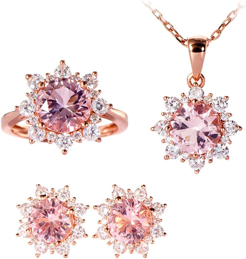 ZkinC Women Cubic Zirconia Snowflake Pendant Necklace Stud Earrings Ring Jewelry Set Necklaces Set for Women Girls Pink US 9