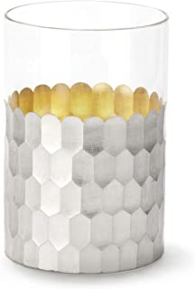Flameless Candle in Silver Holder - Poured Wax Style LED Jar Candle, Unscented, Warm White Light, Glass with Honeycomb Tex...