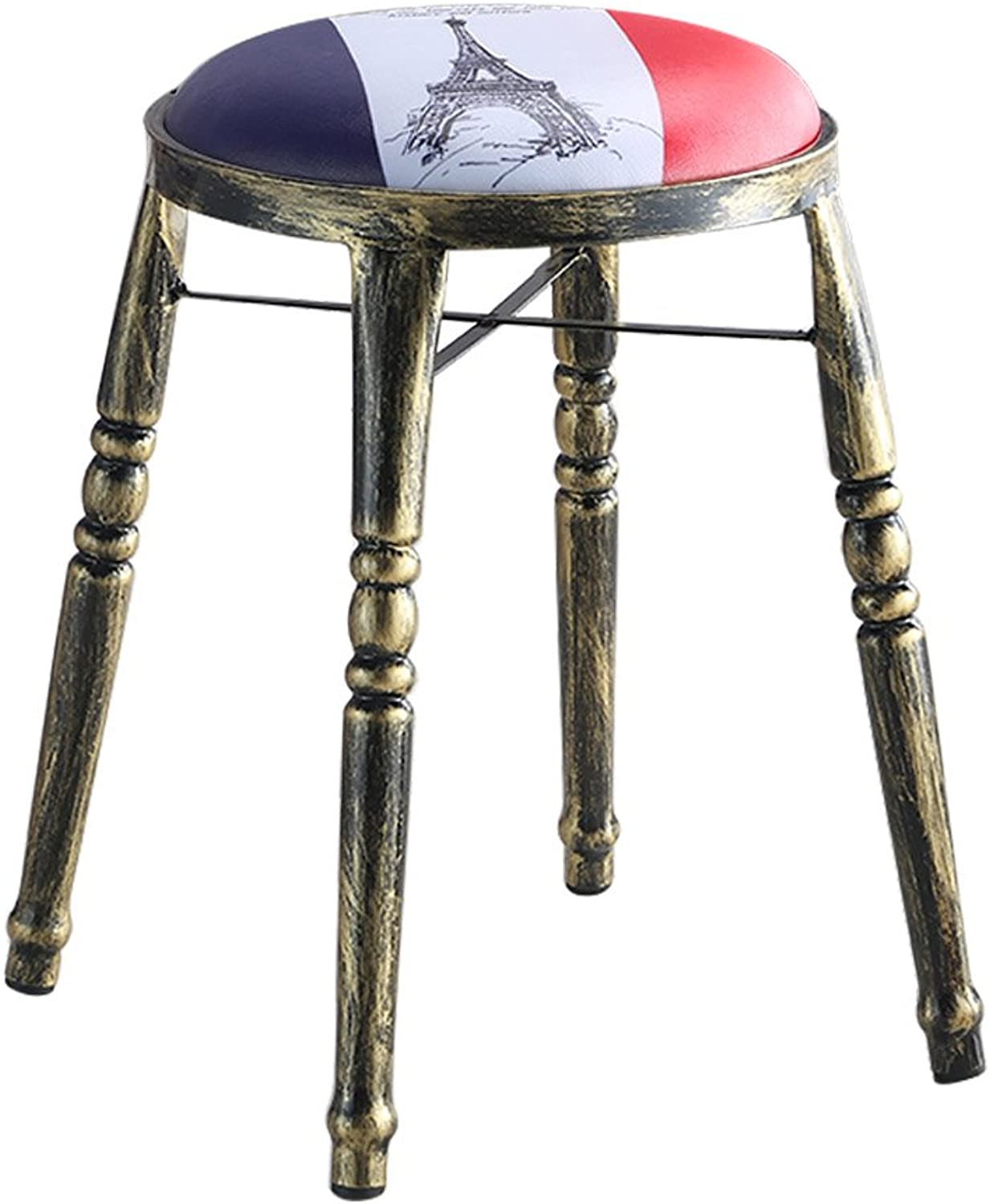 Nationwel@ Round Table Stools with Padded Soft Cushion-Vintage Industrial Style-Copper (color   7, Size   H48cm)