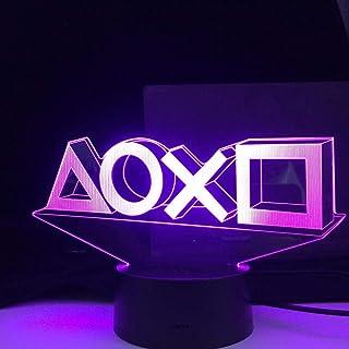3D Illusion lampa LED nattlampa Playstation spelrum Skrivbord inställning belysning dekor lampa på bordskonsol ikon logoty...