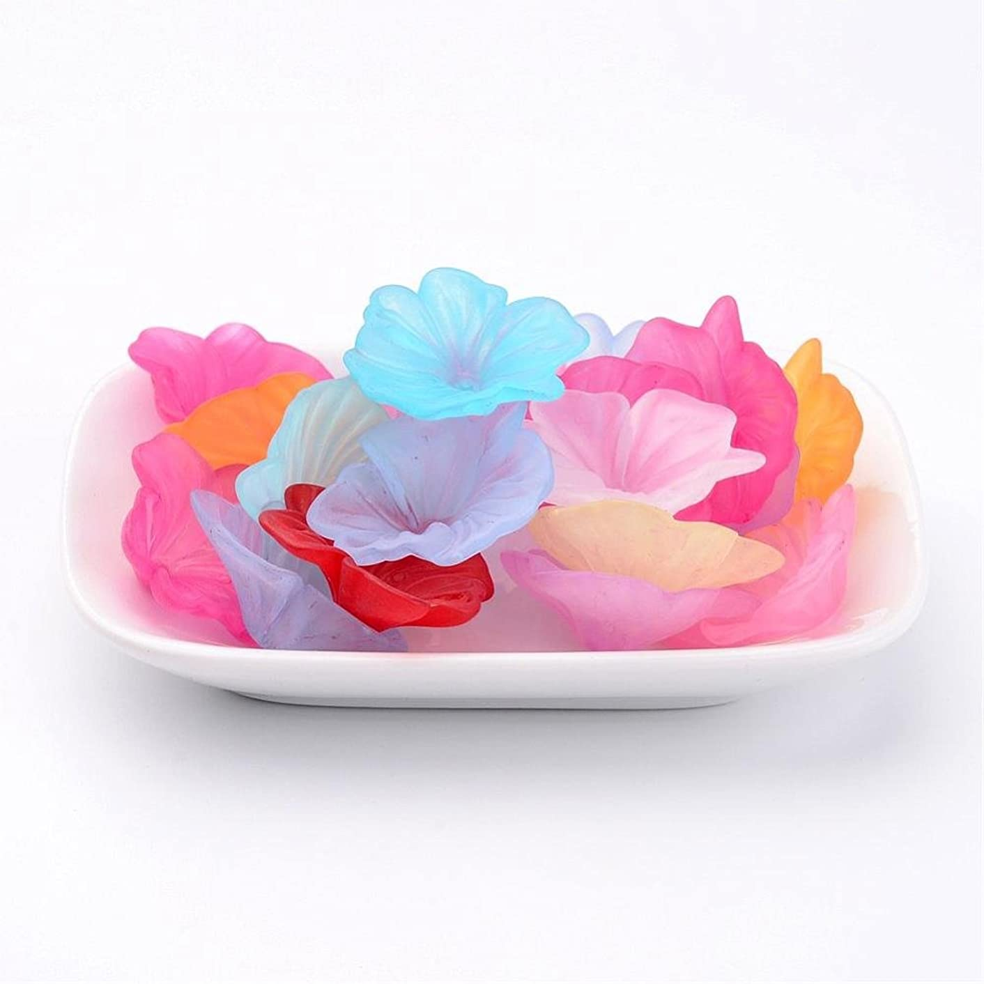13pc Assorted Multicolor X- Large Frosted Acrylic Lucite Petunia Flower Beads Caps for Jewelry Making (33mm/1.3 inch)