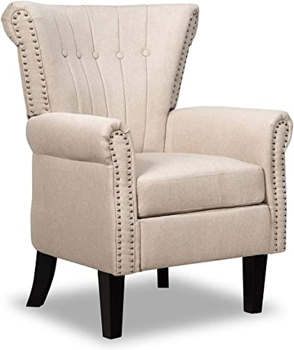 wholesale Giantex Fabric Accent Chair, Mid Century Button Tufted Accent Arm Chair w/Adjustable Foot Pads & Nailhead Trim, Comfy Club Chair for online sale Living Room, Bedroom, Office (1, high quality Beige) outlet online sale