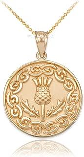 10K Yellow Gold Scottish Thistle Flower Medallion Pendant Necklace