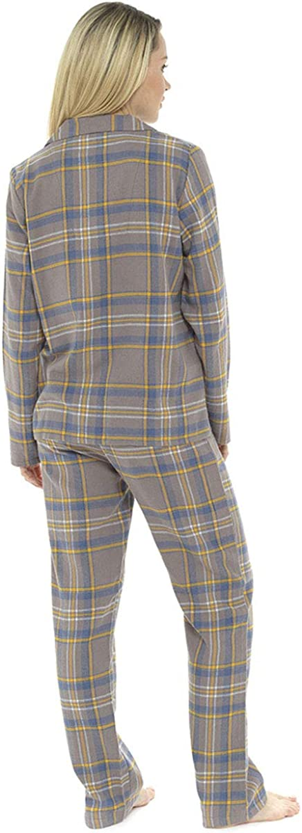 Ladies Checked Print Button Fronted Pyjama Set with Gift Bag