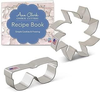 Ann Clark Cookie Cutters 2-Piece Sunshine Cookie Cutter Set with Recipe Booklet, Sun & Sunglasses