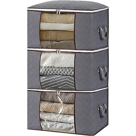 [Amazonブランド] Umi(ウミ) 衣類収納ボックス 衣装ケース 3個セット 衣類収納ケース ベッド下衣装収納バッグ オーガナイザー 大容量 3層構造の不織布 防水生地 活性炭 消臭 布団用 おもちゃ用 グレー 90L