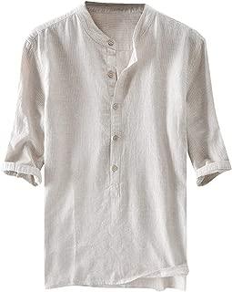 MmNote Men's Simple Casual Retro Cotton Blend Button Design Breathable Stripe Premium Short Sleeve Shirt