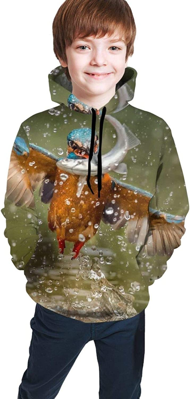 Boys Girls Hoodie, Bird Unisex 3D Printing Teenager Sweatshirt Kids Children's Sweater for Age 7-20