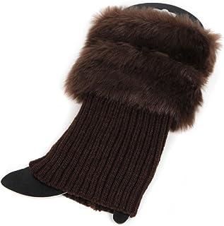KERDEJAR, KERDEJAR Mujeres Invierno Cálido Crochet Knit Fur Trim Calentadores de piernas Puños Toppers Calcetines de Arranque Café
