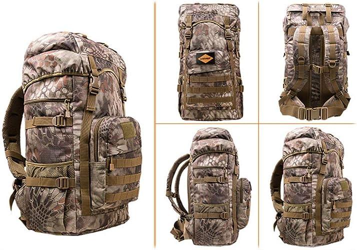 ZLL Trekking sac à doss Back Sacs à dos de randonnée - Sac à dos de randonnée en nylon imperméable, sac de sport en montagne pour hommes et femmes, grande capacité, motif jaune 50L
