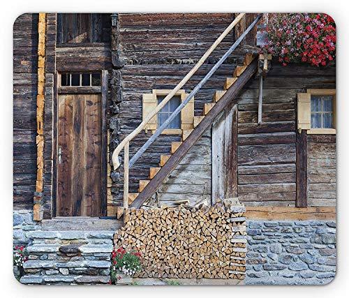 Fensterläden mauspad, Alter alphus mit blumen und einem brennholzstapel landhaus bauernhaus dekorative kunst, Standardgröße rechteck rutschfestes gummi-mauspad, Braun rot