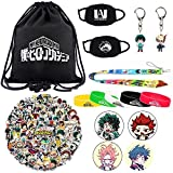 My Hero Academia Gift Sets - Including Drawstring Bag, Face Masks, Waterproof Stickers, Bracelets, Lanyard, Button Pins, Keychains