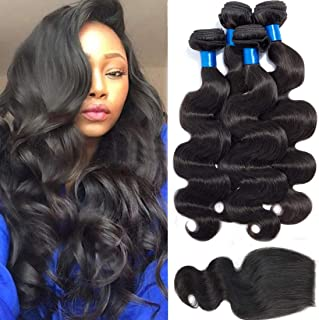 Cranberry Hair Brazilian Virgin Hair 3 bundles With Closure Body Wave Free Part 100% Unprocessed Human Hair Bundles Weave Weft with Lace Closure Natural Color (10 12 14+8 closure, Free Part)