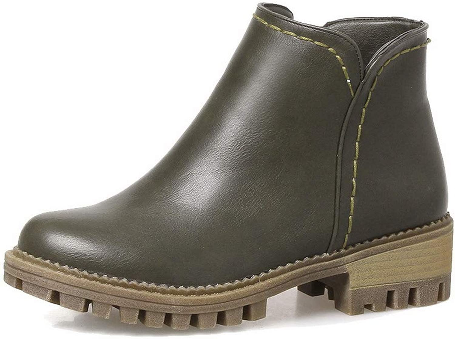 WeenFashion Women's Pu Closed-Toe Solid Low-Top Low-Heels Boots, AMGXX119801