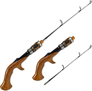 Fiblink 2-Piece Portable Travel Ice Fishing Rod 21 Inches Light Power Spinning/Casting Ice Pole