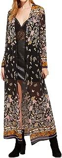 Ausexy Women Autumn Spring Kimono Cardigan Long Floral Print Party Coat Blouse Outwear Top Sexy Bathrobe