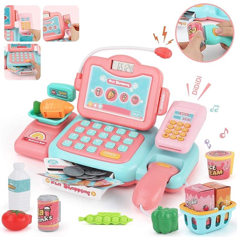 サリーバッフルイサカJoyGrow レジスターおもちゃ 英語版 スキャンでおしゃべり マジカル ショッピング マート お買い物 おもちゃ 女の子 男の子 (ピンク) Cash Register For Kids