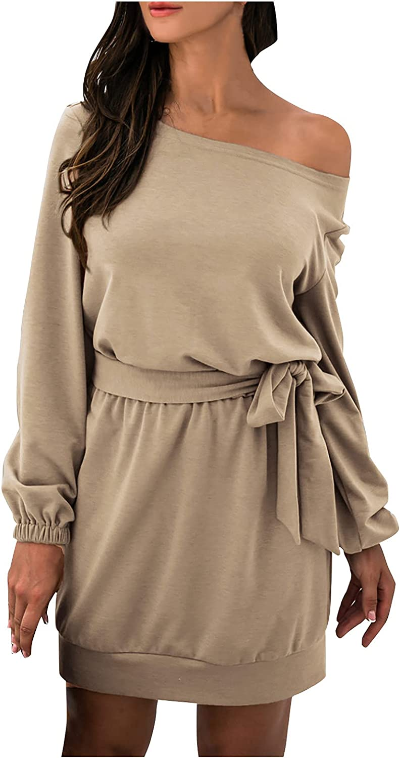 Womens Long Sleeve Off Shoulder Dress Casual Solid Color Mini Dr